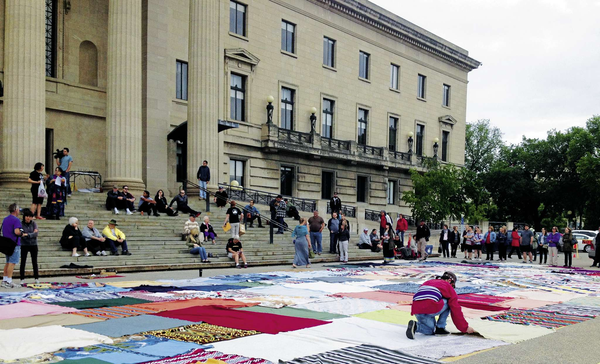 About 200 people took part in the Blanket Exercise at the Manitoba Legislative Building in early June.