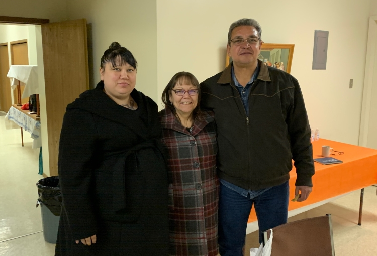 Sadie Anderson, Lorraine Bellegarde, and Tim Poitras bring the Blanket Exercise to Watson.