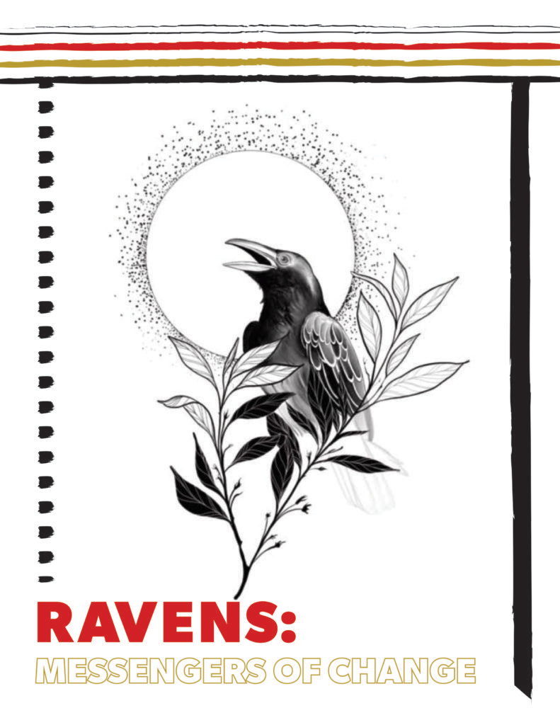 Ravens: Messengers of Changes book cover. Raven on a tree branch.